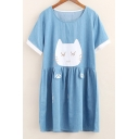 Cartoon Cat Pattern Round Neck Short Sleeve Loose Leisure Mini T-Shirt Dress