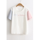 Contrast Short Sleeve Round Neck LOVE ACTUALLY Embroidery Tee