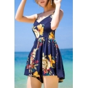 Holiday Beach Spaghetti Straps Floral Printed Chiffon Rompers