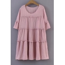 Summer's Round Neck Half Sleeve Plain Loose Leisure Mini Swing Dress