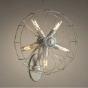 Fan Shaped Retro Style 5 Light Industrial LED Wall Light in Antique Nickel Finish