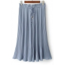 Summer's Elastic Drawstring Waist Pleated Plain Wide Legs Loose Pants