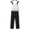 Casual Leisure Chic Lace Patched Straps Sleeveless Loose Jumpsuits