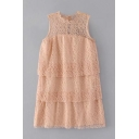Chic Hollow Out Lace Inserted Round Neck Sleeveless Plain Layered Mini Dress