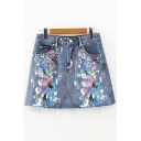 Chic Splash-Ink Printed Summer's Basic A-Line Mini Denim Skirt