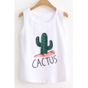 Summer's Fresh Cactus Pattern Round Neck Sleeveless Cut Out Fashion Tank Tee