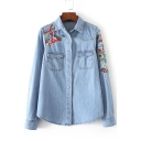 Fashion Embroidery Floral Lapel Single Breasted Denim Shirt with Pockets