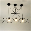 Fish LED Linear Pendant Iron, 3 Lights 31'' Width
