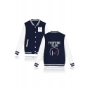 New Arrival Letter Printed Long Sleeve Buttons Down Baseball Jacket