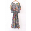 Women's Plunge V-Neck Striped Color Block Printed Short Sleeve Belt Waist Maxi Dress