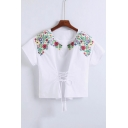 New Fashion Lace-Up Floral Embroidered Round Neck Short Sleeve Pullover Blouse