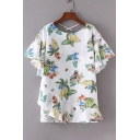 Crisscross Open Back Fruits Floral Pattern Round Neck Short Sleeve Pullover Blouse