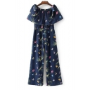 Boat Neck Short Sleeve Chic Floral Printed Casual Loose Jumpsuits