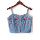 Chic Floral Embroidered Spaghetti Straps Buttons Down Denim Cami Top