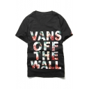 Street Style Fashion Letter Printed Round Neck Short Sleeve Pullover T-Shirt