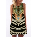 New Arrival 3D Tribal Printed Round Neck Sleeveless Swing Mini Tank Dress