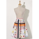 New Fashion Cartoon Graffiti Printed A-Line Midi Skirt