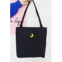 Moon Embroidered Casual Leisure Canvas Portable Shoulder Bag