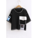 Loose Simple Appliqued Contrast Sewed Pattern Tee with A False Pocket