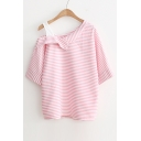 New Arrival Cold Shoulder Batwing Half Sleeve Striped Blouse