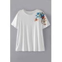 Chic Floral Embroidered Round Neck Short Sleeve Comfort Pullover Tee