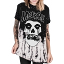 New Fashion Skull Letter Pattern Round Neck Short Sleeve Pullover Loose Tee