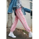 Striped Printed Side Elastic Drawstring Waist Casual Leisure Sports Pants