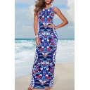 Hot Fashion Round Neck Sleeveless Geometric Printed Maxi Beach Dress