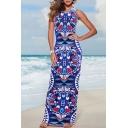 Hot Fashion Round Neck Sleeveless Geometric Printed Maxi Beach Dress