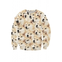 Lovely Husky Dog 3D Printed Long Sleeve Round Neck Pullover Sweatshirt
