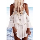 Chic Lace Hollow Out Spaghetti Straps Cold Shoulder Chiffon Plain Rompers