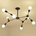 Industrial Semi Flush Ceiling Light with 8 Lights, Metal Lighting in Black