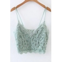Chic Lace Inserted Spaghetti Straps Plain Cropped Cami Top