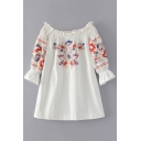 Chic Floral Embroidered Boat Neck Long Sleeve Flared Cuff Mini Swing Dress