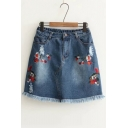 New Fashion Floral Embroidered Raw Edge Ripped A-Line Denim Mini Skirt