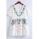 V Neck Short Sleeve Chic Floral Embroidered Mini A-Line Dress