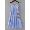 Leisure Spaghetti Straps Sleeveless Embroidery Floral Striped Pattern Midi Cami Dress