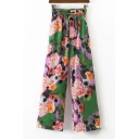 Elastic Waist Chic Floral Printed Casual Loose Wide Legs Pants