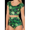 Scoop Neck Cap Sleeve Cropped Tee 3D Leaves Printed Tankini Swimwear