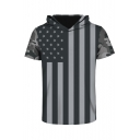 New Stylish Striped USA Flag Short Sleeve Hooded Tee