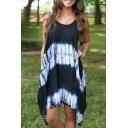 Hot Fashion Round Neck Sleeveless Tie Dye Printed Mini Asymmetrical Dress