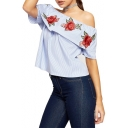 Sexy Boat Neck Short Sleeve Chic Floral Embroidered Striped Printed Blouse