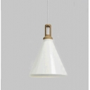 Modern Pendant Light with White Conical Shade, 11'' Width