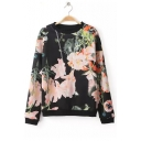 Retro Floral Printed Round Neck Long Sleeve Casual Pullover Sweatshirt