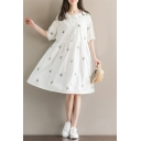 Summer's Fresh Cactus Pattern Collared Half Sleeve Midi Smock Dress