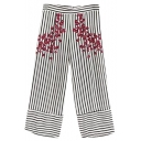 Classic Striped Printed Floral Embroidered Loose Wide Legs Pants