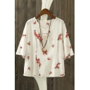 Embroidery Floral Pattern Round Neck Half Sleeve Loose Blouse