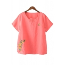 New Fashion Vintage V Neck Short Sleeve Floral Embroidered Pullover Blouse