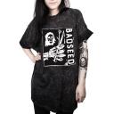 Street Style Letter Skull Printed Short Sleeve Loose Oversize T-Shirt