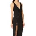 Fashion Women's Lace-Up Front Sleeveless Plunge V-Neck Maxi Tank Dress